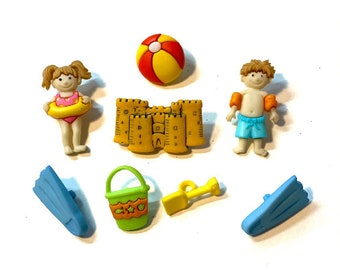 Day At The Beach Buttons Collection Set of 8 Shank Back Ball Sandcastle Fins Pail Shovel Kids Jesse James Dress It Up Buttons - 1331