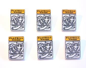 Playbill Buttons New York Dress It Up Buttons Jesse James Buttons Broadway Set of 6 Shank Flat Back Choice Craft Hair Scrapbook Supply - 171