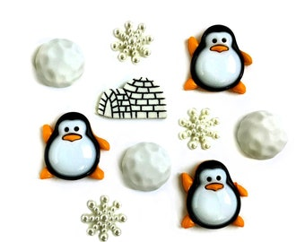 Penguin Buttons Galore Collection Snowballs Igloo Snowflakes Penguin Pals Set of 10 Shank Back - 682
