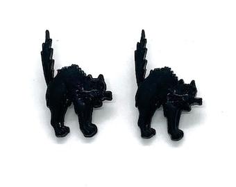 Black Cat Buttons Galore Shank Flat Back Choice - H101 A