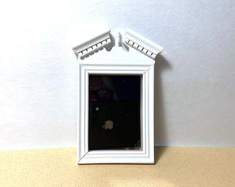 Miniature Wall Mirror Old Fashioned White Frame Dollhouse Furniture Home Decor Miniatures - 1162 A