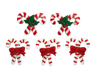 Christmas Candy Cane Buttons Galore Collection Peppermint Pairs Set of 5 Shank Back - 670