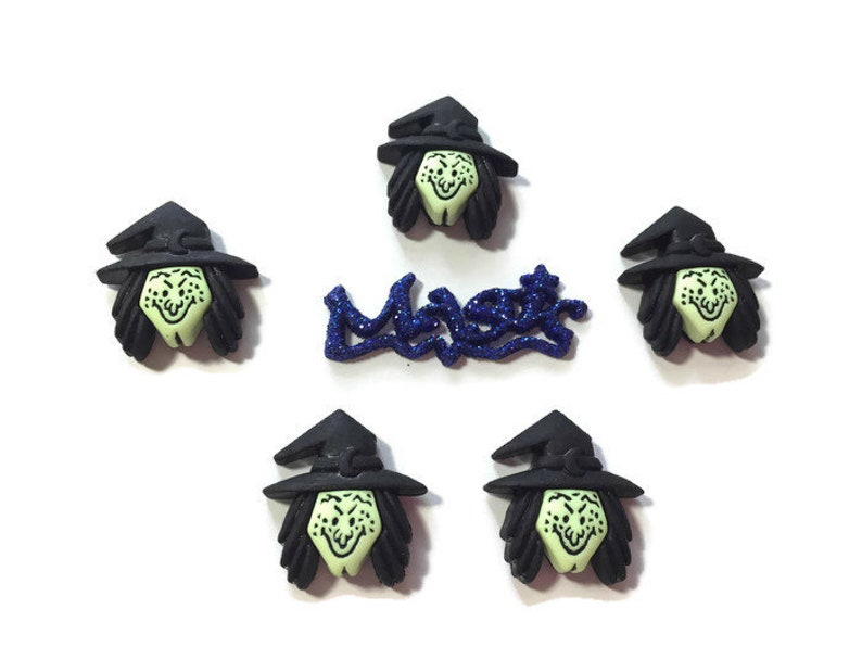 Witch Halloween Buttons Witches Brew Shank Flat Back Choice Set of 6  Buttons Galore Witchcraft Magic Craft Supply - H113