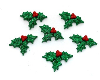 GLITTER Holly Berry Embellishment Collection Set of 6 Flat Back Christmas Jesse James Dress It Up Buttons - 621