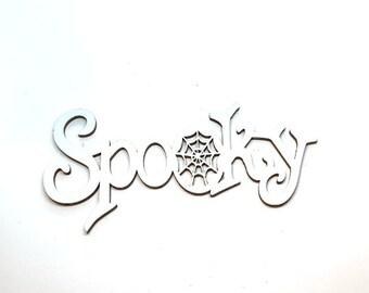 Miniature Halloween SPOOKY Sign Embellishments Set of 1 Wood Flat Backs HBOX 2
