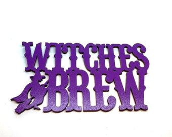 Miniatures WITCHES BREW Sign Embellishments Wood Flat Back HBOX 2