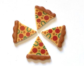Pizza Slice Buttons Shank Flat Back Choice - 946 A W110
