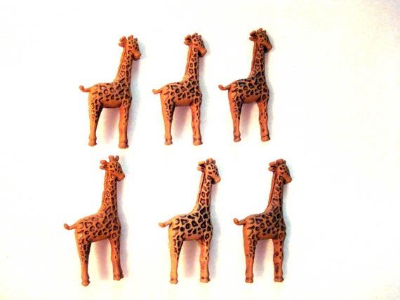 Metal Shanks, Metal Flatbacks 6 Brown Giraffe Pattern Fabric Covered Buttons 30mm