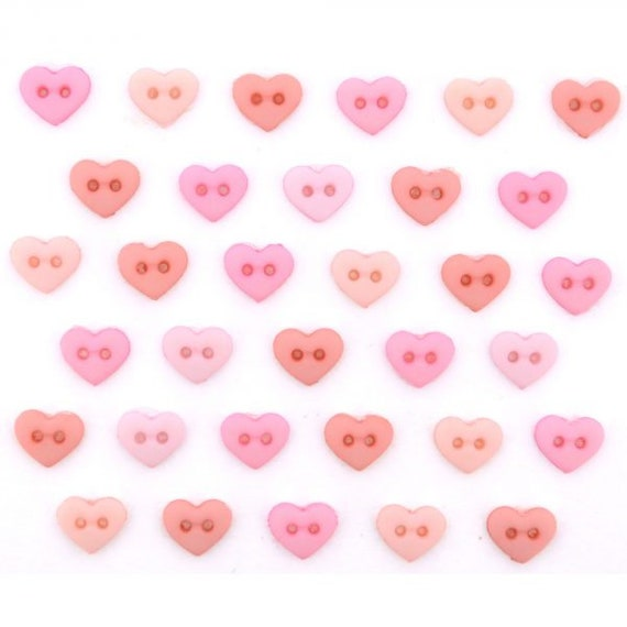 TINY PASTEL HEART BUTTONS 2 Hole Scrapbooking Sewing Card Making Valentine Love