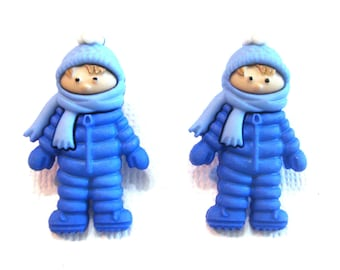 Winter Boy Buttons Fun In The Snow Shank Flat Back Choice Bundle Up Jesse James Buttons Blue Snowsuit - 1317 A