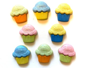 Glitter Cupcakes Buttons Galore Collection Set of 8 Shank Flat Back Choice  - 217