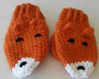 Fox Mittens - Animal Mittens - Mittens - Crochet Mittens - Toddler Mittens - Child Mittens - Kids Mittens
