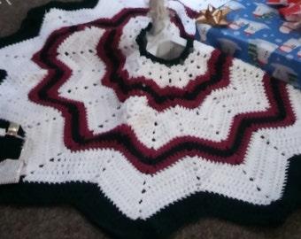 Tree Skirt - Christmas Tree Skirt - Crochet Tree Skirt - Star Tree Skirt- Striped Christmas Tree Skirt
