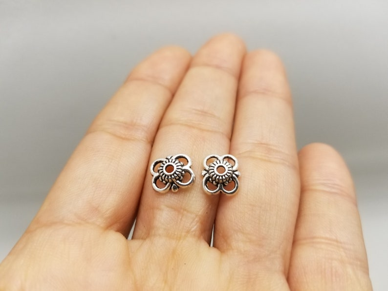12 PCS Antique Silver Finished Flower Bead Caps Jewelry Supplies Findings CC