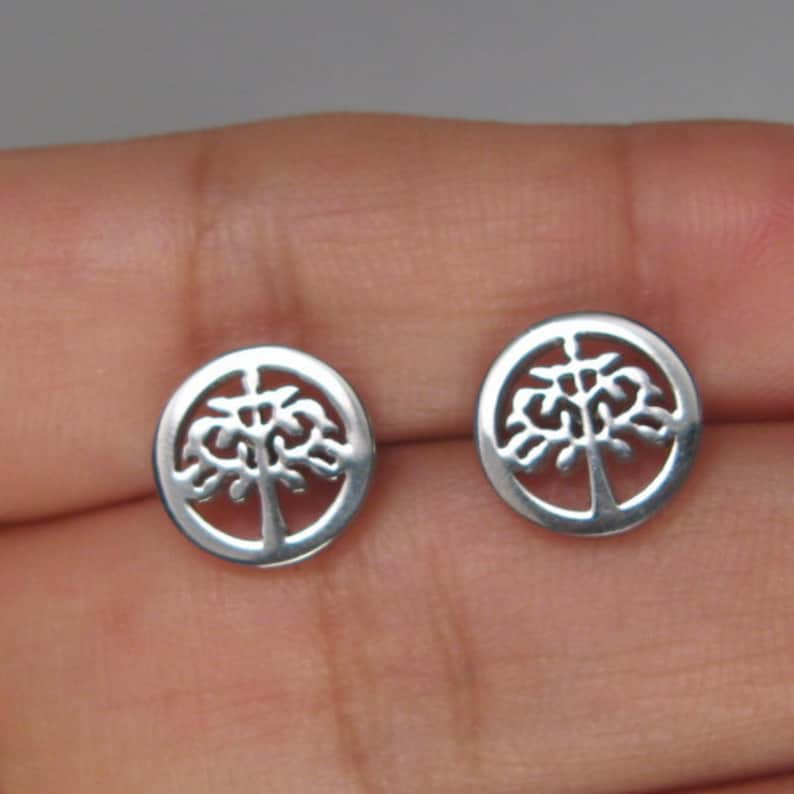 Tree of Life Hollow Stainless Steel Hypoallergenic Stud Small Earrings B5
