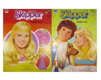 1980 Skipper Paper Doll and Coloring Sticker Books, Uncut and unused, by Whitman