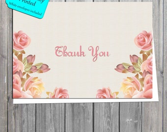 antique flowers bridal shower thank you card shabby chic thank you card professionally printed also available in digital format