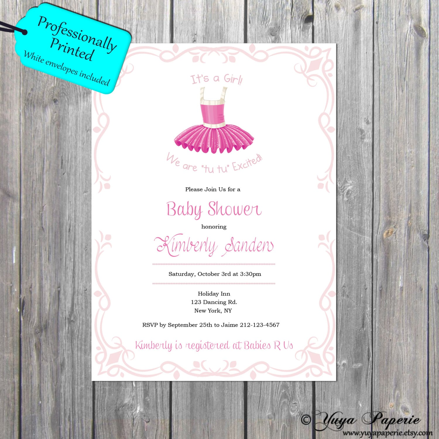 Tutu Themed Baby Shower Invitation Ballerina Theme Invitation Tutu