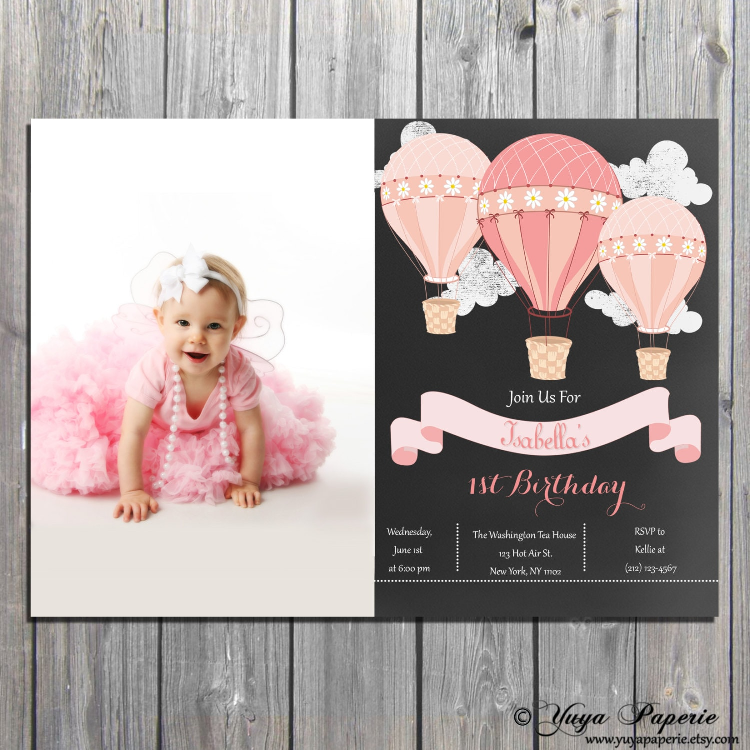 Hot Air Balloon Birthday Invitation Up And Away 1st Shabby Chic Invite DIGITAL FILE Also Available Professionally Printed
