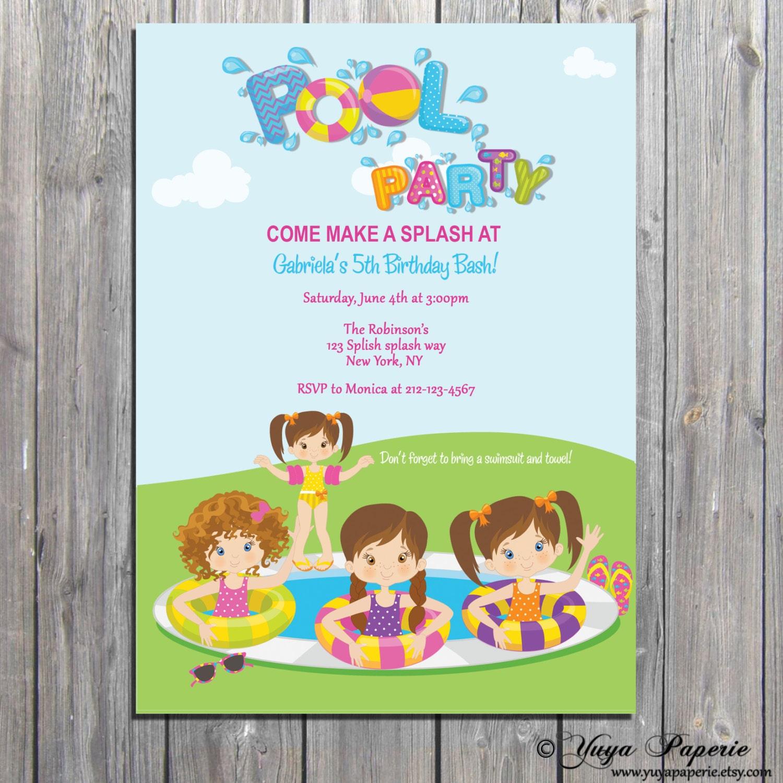 pool party invitation summer party invite splash birthday party