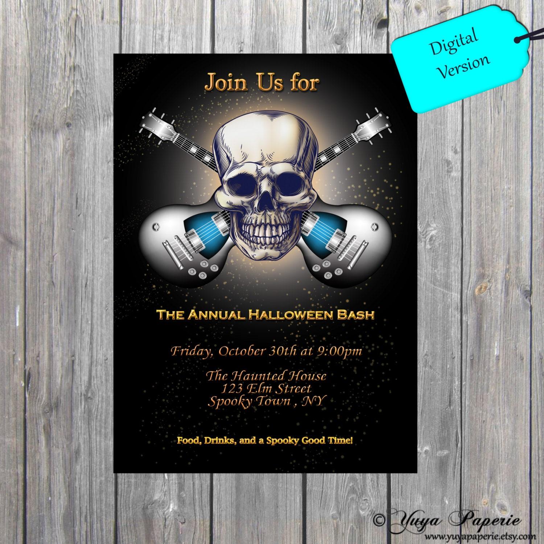 Halloween Skull Invitation, Adult halloween party invite, Scary ...