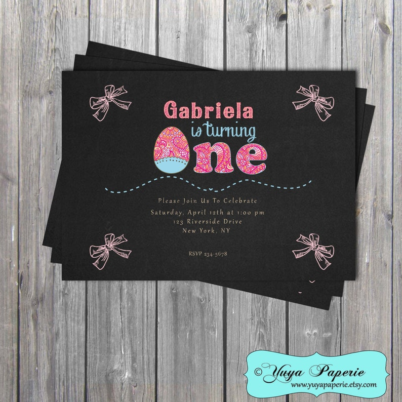 Easter Chalkboard Birthday Invitation One Year Old Etsy