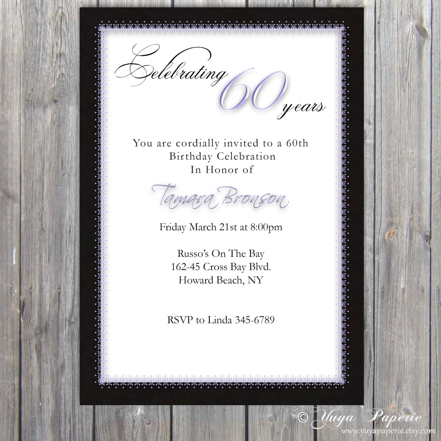 60th, 70th, 80th, 90th birthday Invitation, Adult Party invitation ...