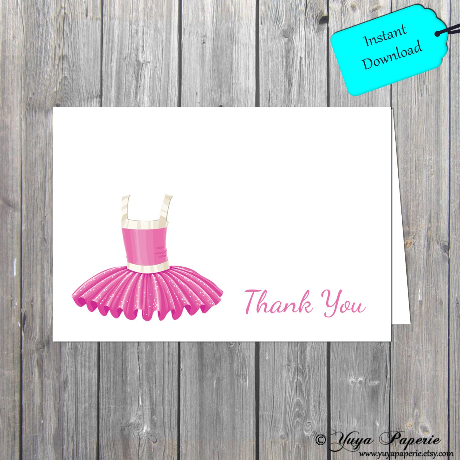 Ballerina Thank You Card Shabby Chic Thank You Card Kids Thank You