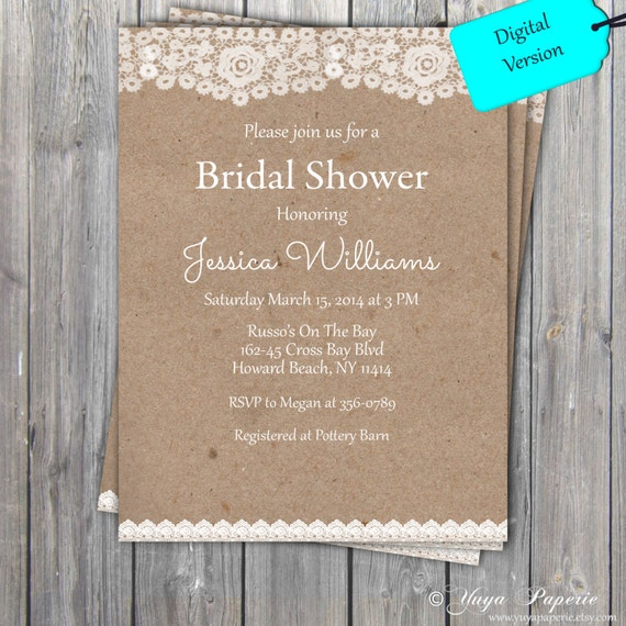 065964ca59f Lace Rustic Bridal Shower Invitation Adult party invitation