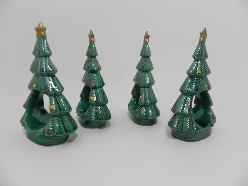 Ceramic Christmas Tree Napkin Rings Ron Gordon Designs RGD 1982 Napkin Holders Set of Four