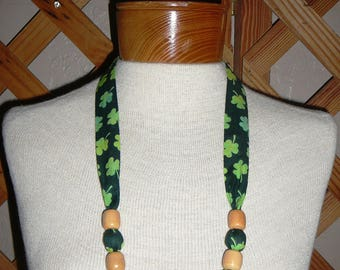 NECKLACES~St. Patrick's Day Shamrocks~ Designs~Washable~Reversible~Fabric & Beads~Designs Vary~FREE SHIP