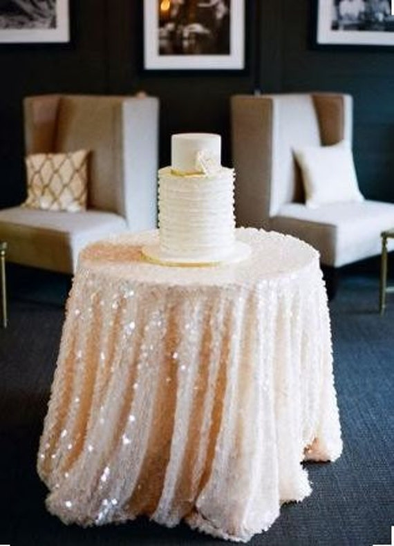Large Peach and White Table Topper