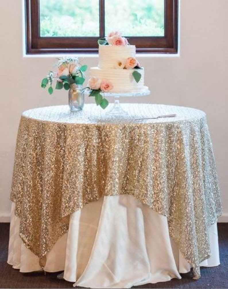 139bf874be462 Light Gold Sequin Tablecloth Light Gold Tablecloth Gold