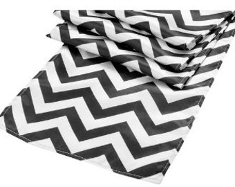 Black And White Table Runners For Weddings, 8 Table Runners, Zig Zag Table Runner, Zig Zag Fabric, Zig Zag Applique, Black And White Cloth