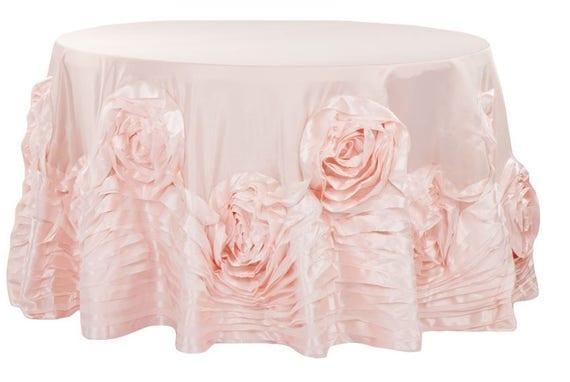 Large Rosette Flower Tablecloth Blush Blush and White | Etsy