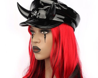 Pre-Order DEVIL'S BIKER HAT patent shiny vinyl horned hat gothic goth punkrock horns demon hat cap military baker boy