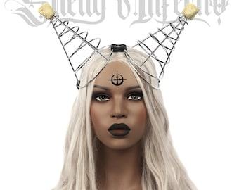 INFERNO Spiral Horns   Fire dance headdress equipment flaming costume poi dance Performing Performance Headpiece