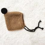 Pompon Pixie Hat / Baby Bonnet with PomPom and Ties / Brown Bonnet / Hand knit Baby Bonnet / Color Doe