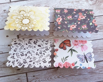 "2.5"" x 3.5"" Elegant Floral Note Cards with Envelope / Shabby Chic Note Cards / Blank Note Cards / Flower and Butterflies / Set of 4"