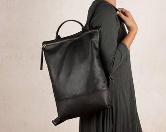 LEATHER BACKPACK purse, women gift, laptop backpack, school backpack, oficce bag, black backpack, leather backpack women, zipper backpack