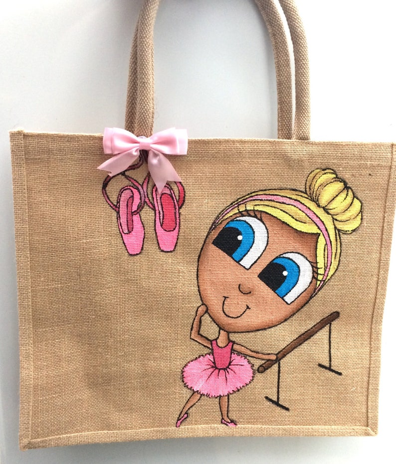 Ballet Ballerina Hessian Tote Personalised Jute Bag Reusable Hand Painted Custom Made with Bow