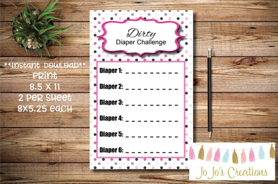 Baby Girl Ribbon Baby Shower Games Dirty Diaper Game Etsy