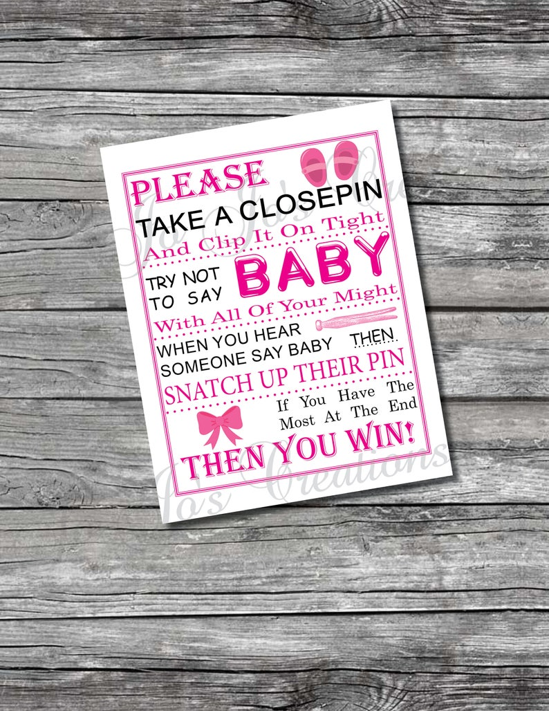 Baby Girl Shoes Ribbon Baby Shower Games Sign Closepin Etsy