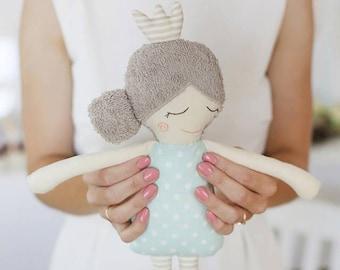 Rag Doll Sleeping Princess, stuffed toy or nursery decor READY TO SHIP
