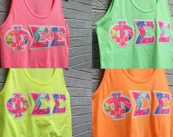 Mix and Match Neon Sorority Tanks with Lilly Print on White (92c