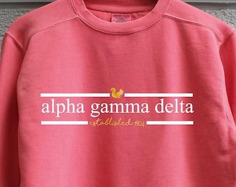 98b3d1522d1035 Watermelon Alpha Gamma Delta Comfort Color Sweatshirt with Press on Design
