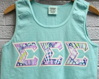 Chalky Mint Comfort Colors Tank With Lilly Fabric On Glitter (31c)