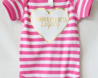 Stripe Heart Legacy Baby Bodysuit