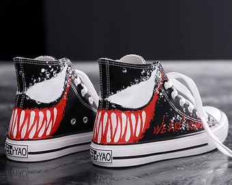 b282a1d79 Venom - Hand Painted flat Men Women Sneakers custom made 100% painting  canvas shoes high top fashion present for couples
