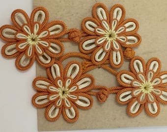 4 Sets of Vintage Floral Clothing Frog Closures in Orange and Cream